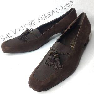 Ferragamo brown suede tassel loafer heels 7.5